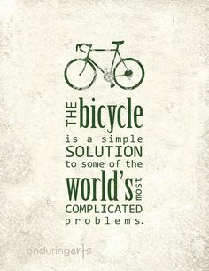 Bicycle is a Simple Solution Art Print in Pavement Grey. $15.00, via Etsy.