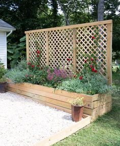 Diy Outdoor Screens and Backyard Privacy Ideas Conventional Outdoor Privacy Screen with Planters Garden Privacy Screen, Privacy Planter, Privacy Trellis, Patio Trellis, Raised Garden Bed Plans, Raised Beds, Diy Garden Bed, Easy Garden, Privacy Screen Outdoor