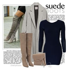 """Classy chic suede thigh high boots outfit"" by cherrysnoww ❤ liked on Polyvore featuring moda, Zara, Vero Moda, Givenchy, DANNIJO, Nly Shoes i Forever 21"