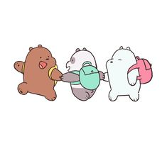 We Bare Bears wearing backpacks wallpaper Cute Disney Wallpaper, Kawaii Wallpaper, Cute Wallpaper Backgrounds, Wallpaper Iphone Cute, We Bare Bears Wallpapers, Panda Wallpapers, Cute Cartoon Wallpapers, Ice Bear We Bare Bears, We Bear
