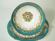 Aynsley Tea Cup and Saucer Set Dark Turquoise and Gold