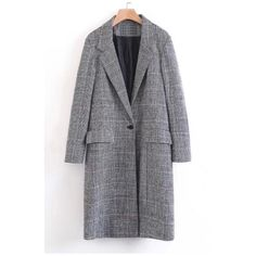 Notched Lapel Collar Long Sleeve Classic Plaids Print Long Blazer Coat... (646.125 IDR) ❤ liked on Polyvore featuring outerwear, coats, tartan coat, long blazer coat, plaid wool coat, wool coat and fur-collar wool coats