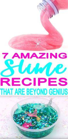 Learn how to make DIY homemade slime. 7 a 7 SLIME DIYs include DIY edible slime! Learn how to make DIY homemade slime. 7 a Make Slime For Kids, How To Make Slime, How To Make Diy, Making Slime, Cool Slime Recipes, Easy Slime Recipe, Mermaid Slime, Mermaid Diy, Homemade Slime