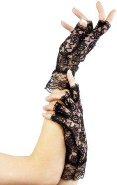 Gants noirs en dentelle femme  : Ces gants courts en dentelle noire, pour femme, sont parfaits pour sublimer vos mains et compléter vos déguisements.