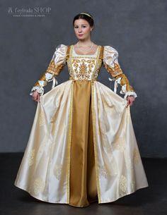 Wedding Renaissance dress white and gold color Lucrezia Borgia