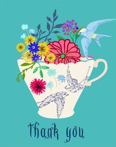 Tea cup flower arrangement thank you for customers. Other ideas: Business card Chapstick, candle, room spritz
