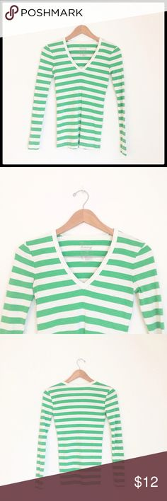 Gap Super Soft V-Neck GAP, The Bowery Super Soft V Neck. Beautiful green and white, great condition! Worn only once! GAP Tops Tees - Long Sleeve