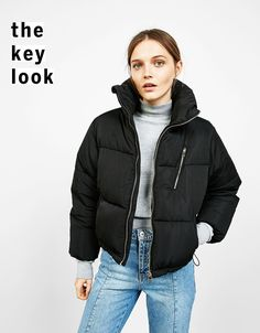 'Puffy' cropped quilted jacket - Coats and Jackets - Bershka United Kingdom