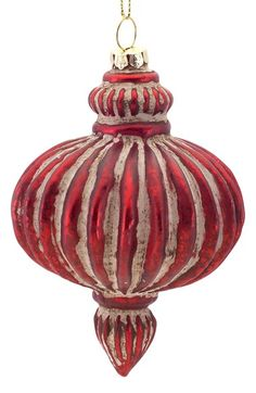 Melrose Gifts Ribbed Glass Ornament