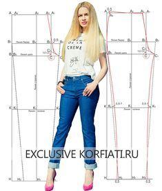 Базовая выкройка женских джинсов. Женские джинсовые брюки, как правило, плотно облегают фигуру, более узкие книзу. Очень точная выкройка джинсовых брюк - чертеж и описание.