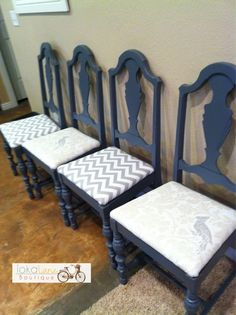 Gray Kitchen chairs with chevron.