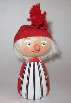 Vtg Swedish Wooden Tomte Elf Gnome Santa Sweden Handpainted Wood Xmas Figurine