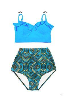 f502fea5c106e Light Blue Midkini Top and Graphic Print Highwaisted Highwaist High Waisted  Waist Retro Slimming Bottom Handmade Women Bikini set sets Two piece  Swimsuit ...