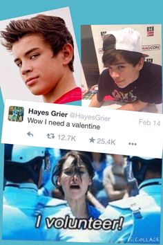 I volunteer!   ~Yass!~#LuvHayesGrier!   Big fan so cute and has the looks that could make you weak in the knees!~