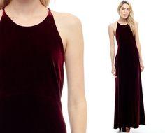 Burgundy Velvet Dress Maxi 90s OPEN BACK Long Criss Cross High Waisted Party…