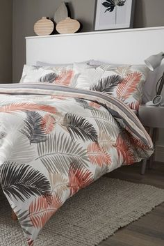Buy Fusion Tropical Leaves Duvet Cover and Pillowcase Set from the Next UK online shop Duvet Bedding Sets, Luxury Bedding Sets, Linen Bedding, Bed Linen, Tropical Bedding, Tropical Bedrooms, Hawaiian Bedroom, Home Decor Items Online, Grey Furniture