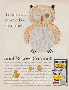 Coconut Cake Recipe  ===== ���� Owl Cake. Iremember this in the Baker's cookbook in the mid 60's.