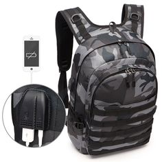 PUBG Backpack Men School Bags Mochila Pubg Battlefield Infantry Pack Camouflage Travel Canvas USB Headphone Jack Back Knapsack Hiking Backpack, Laptop Backpack, Travel Backpack, Backpack Bags, Tactical Backpack, Fashion Backpack, Camouflage Backpack, Usb, Back Bag