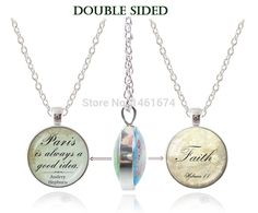double sided pendant letter necklace faith jewelry believe hope Paris necklaces glass dome handmade  jewelry spiritual jewellery