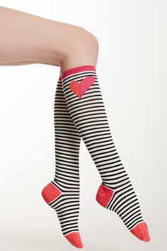 heart and stripe knee high sock