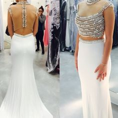 Prom Dress white beaded two piece prom dress worn once in perfect condition Alyce Paris Dresses Prom