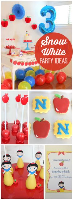 Love this Snow White party with a fruity apple focus! See more party ideas at CatchMyParty.com!