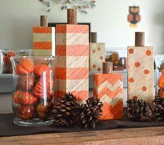 wood block pumpkins, crafts, home decor, woodworking projects