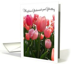 Personalize any greeting card for no additional cost! Cards are shipped the Next Business Day. Tulips, All Things, Birthday Cards, Glass Vase, German, Greeting Cards, Peach, Plants, Bday Cards