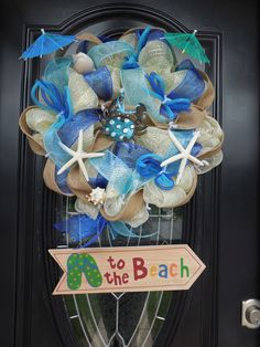 Beach Themed Deco Mesh Wreath
