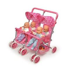 Badger Basket Quad Deluxe Doll Stroller, Pink Polka Dots I wish they had this when I was a little girl! I can't wait to share my baby obsession with Natiley! Little Girl Toys, Baby Girl Toys, Toys For Girls, Kids Toys, Toddler Toys, Baby Doll Furniture, Baby Doll Strollers, Baby Doll Nursery, Baby Alive Dolls