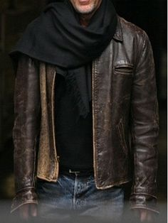 Omg I have this exact jacket it was my dads it isn't new. Distressed leather jacket and scarf.