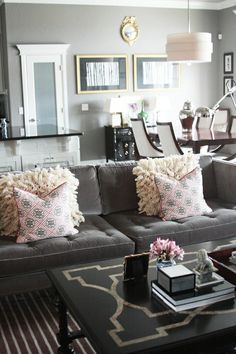 recover small couch in grey velvet, what a great idea!  Love everything about this room. It's elegant and comfortable AND grey with light pink:)