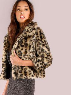 #AdoreWe #SheIn Coats - SheIn Cropped Leopard Fur Coat LEOPARD - AdoreWe.com