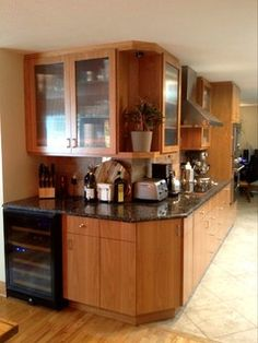 """Denver, CO Kitchen Remodel, Crystal Cabinet Works Inc. , Springfield door style, Natural stain on Cherry,  1/2"""" reeded glass cabinet door inserts."""