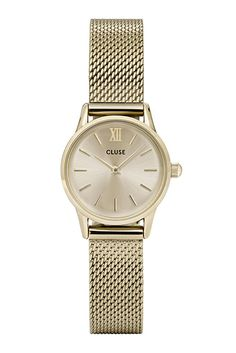 Cluse La Vedette Gold Ladies Watch - Gold Dial & Gold Mesh Strap. Re-inventing the small vintage watch, the La Vedette collection evokes effortless elegance with a touch of contemporary minimalism. This collection is a tribute to captivating elegance, timeless sophistication and the uncontested power of true female confidence.