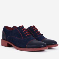 Pantofi Oxford din piele naturala bleumarin Alegra