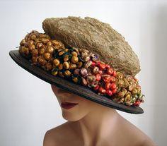 Maria Niforos - Fine Antique Lace, Linens & Textiles : Antique & Vintage Accessories # AC-24 Circa 1900's, Elaborate Straw Hat w/ Ornamental Straw Flowers
