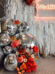 Disco Party Decorations, Reception Decorations, Event Decor, Our Wedding, Dream Wedding, 70s Party, Disco Ball, Wedding Designs, Backdrops