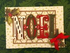Handmade Anna Griffin Cricut Holiday Trimmings Vintage NOEL Greeting Card