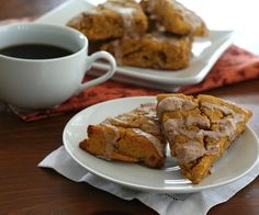 Pumpkin Scones with Cinnamon Glaze – Low Carb and Gluten-Free Recipe Breads with pumpkin, almond flour, coconut flour, Swerve Sweetener, baking powder, cinnamon, ginger, clove, salt, chopped pecans, large eggs, butter, cream, glaze, Swerve Sweetener, heavy cream, cinnamon