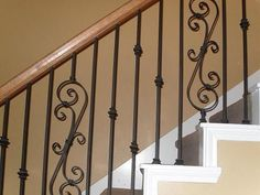 Upgrading your basic wood stair spindles, which are also called balusters, will give your home a more custom look.  See the steps below for how to replace your wood stair spindles with wrought iron.: