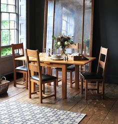 Preparing for guests, dining, entertaining, oak dining table and chairs Round Back Dining Chairs, Ladder Back Chairs, Extendable Dining Table, Dining Table Chairs, Dining Room Furniture, Wooden Furniture, Butler Table, Dining Room Storage, Dinner Party Table