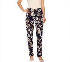49.48$  Buy now - http://vicav.justgood.pw/vig/item.php?t=4xas5952600 - Isaac Mizrahi 24/7 Stretch Knit Straight Leg Pants Navy Floral 12P NEW A266693 49.48$