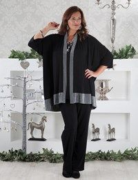Plus size Juliet black/silver jacket, Thelma top and Rita trouser