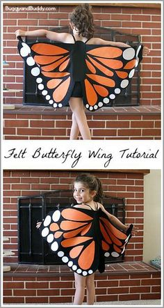 Felt Butterfly Wing Tutorial: Super easy DIY butterfly wings- make to resemble a monarch or any colorful butterfly! Makes a great… butterfly DIY Felt Monarch Butterfly Wings Tutorial - Buggy and Buddy Great Halloween Costumes, Easy Halloween, Halloween Crafts, Homemade Halloween, Group Halloween, Family Costumes, Group Costumes, Zombie Costumes, Costume Ideas