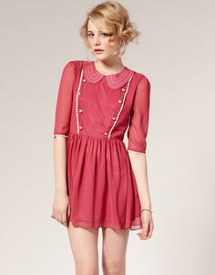 Starry Top Stitch Collar And Button Front Tea Dress