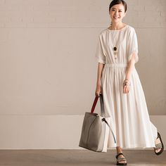 Cotton Linen Collect Waist White Long Dress Summer Women Dress