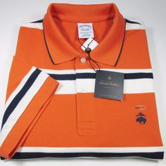 BROOKS BROTHERS Golden Fleece Multistripe S/S Polo Shirt ORANGE XL NWT #BrooksBrothers #PoloRugby
