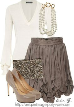 Gorgeous! Good ideas for How to dress a skirt.