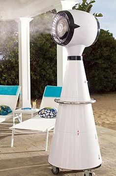 Keep your guests cool this summer while enjoying your fabulous parties with the Aviator Misting Fan; a fan that cools with refreshing mist without dampening clothing.